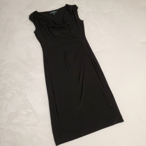 LAUREN RALPH LAUREN Black Little Dress Drape